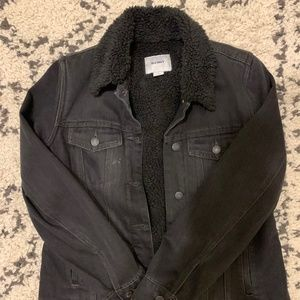 Old Navy Sherpa-Lined Black Denim Jacket